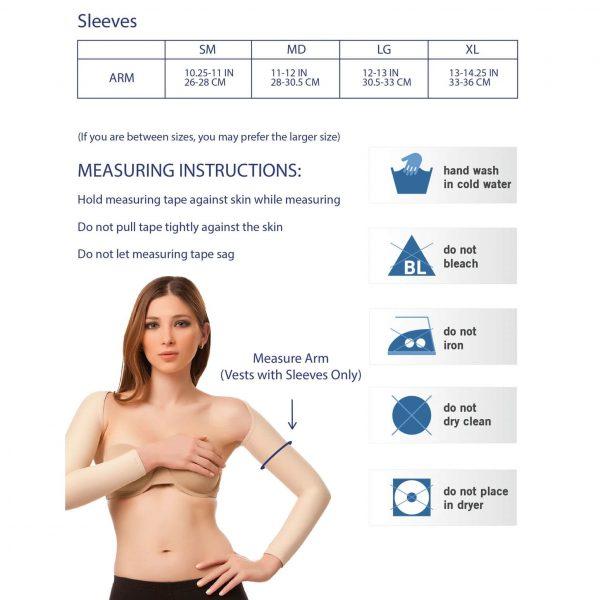 טבלת מידות לשרוולון לזרוע לאחר ניתוח